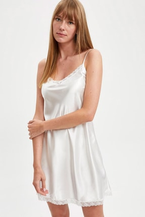 Defacto Fit Kadın Whıte (000) Bride Askılı Dokuma Saten Elbise R3465AZ20AU 1