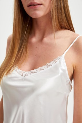 Defacto Fit Kadın Whıte (000) Bride Askılı Dokuma Saten Elbise R3465AZ20AU 2
