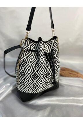 Siyah Beyaz Desenli Çanta HY 31 ÇANTA