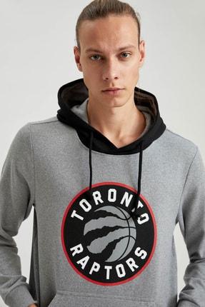Defacto Unisex Gri Nba Lisanslı Kapüşonlu Slim Fit Sweatshirt 0