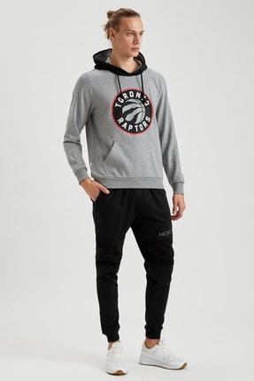 Defacto Unisex Gri Nba Lisanslı Kapüşonlu Slim Fit Sweatshirt 1