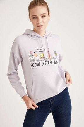 Defacto Kapüşonlu Baskılı Relax Fit Sweatshirt 0