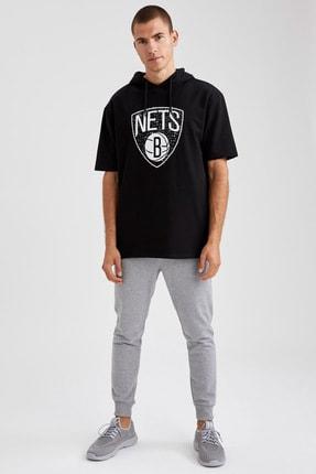 Defacto Fit Erkek Siyah Nba Lisanslı Oversize Fit Kısa Kollu Sweatshirt 1