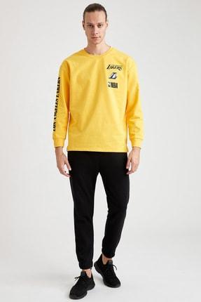 Defacto Unisex Sarı Nba Lisanslı Oversize Fit Bisiklet Yaka Sweatshirt 1