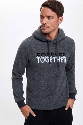 Defacto Forever Baskılı Kapüşonlu Regular Fit Sweatshirt 4