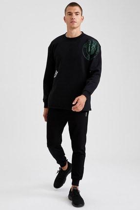 Defacto Erkek Siyah Nba Lisanslı Bisiklet Yaka Oversize Fit Sweatshirt 1