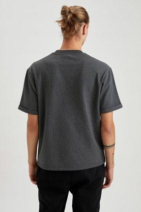 Defacto Fit Erkek Anthra Melange Nba Lisanslı Oversize Fit Kısa Kollu Sweatshirt S7787AZ20WN 3