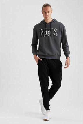 Defacto Erkek Gri Nba Lisanslı Kapüşonlu Oversize Fit Sweatshirt 1