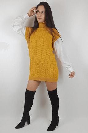 Linada Outfit Kadın Hardal Gömlek Kol Boğazlı Örgü Elbise 1