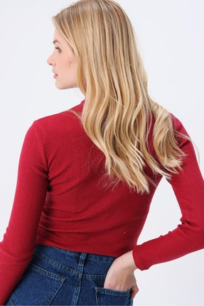 Trend Alaçatı Stili Kadın Vişne Balıkçı Yaka Basıc Fitilli Şardonlu Bluz ALC-X5420 3