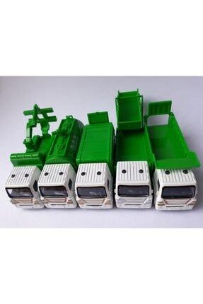 OYUNCAKSAHİLİ Çöp Kamyonu Çekici Tanker Kamyon Metal 5adet Temizlik Araçları 1