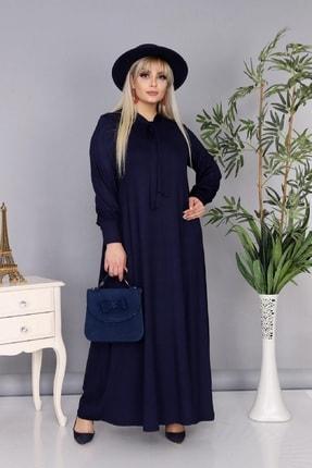 Şirin Butik Kadın Büyük Beden Lacivert Renk Kravat Yaka Detaylı Viskon Elbise 3