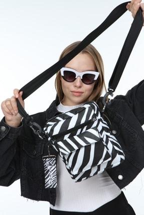 KISCHE Kadın Zebra Desenli Omuz Çantası 0