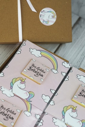 Doğum Günü Sepetim 32 Adet Bebek Çikolatası - Hediyelik Madlen Çikolata Unicorn 1