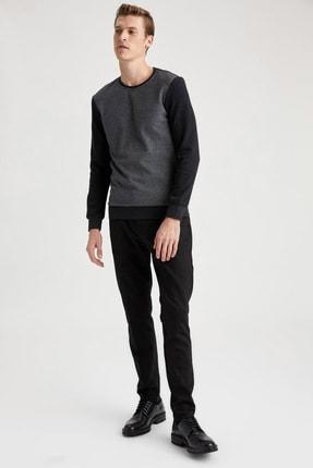 Defacto Desenli Slim Fit Bisiklet Yaka Sweatshirt 1
