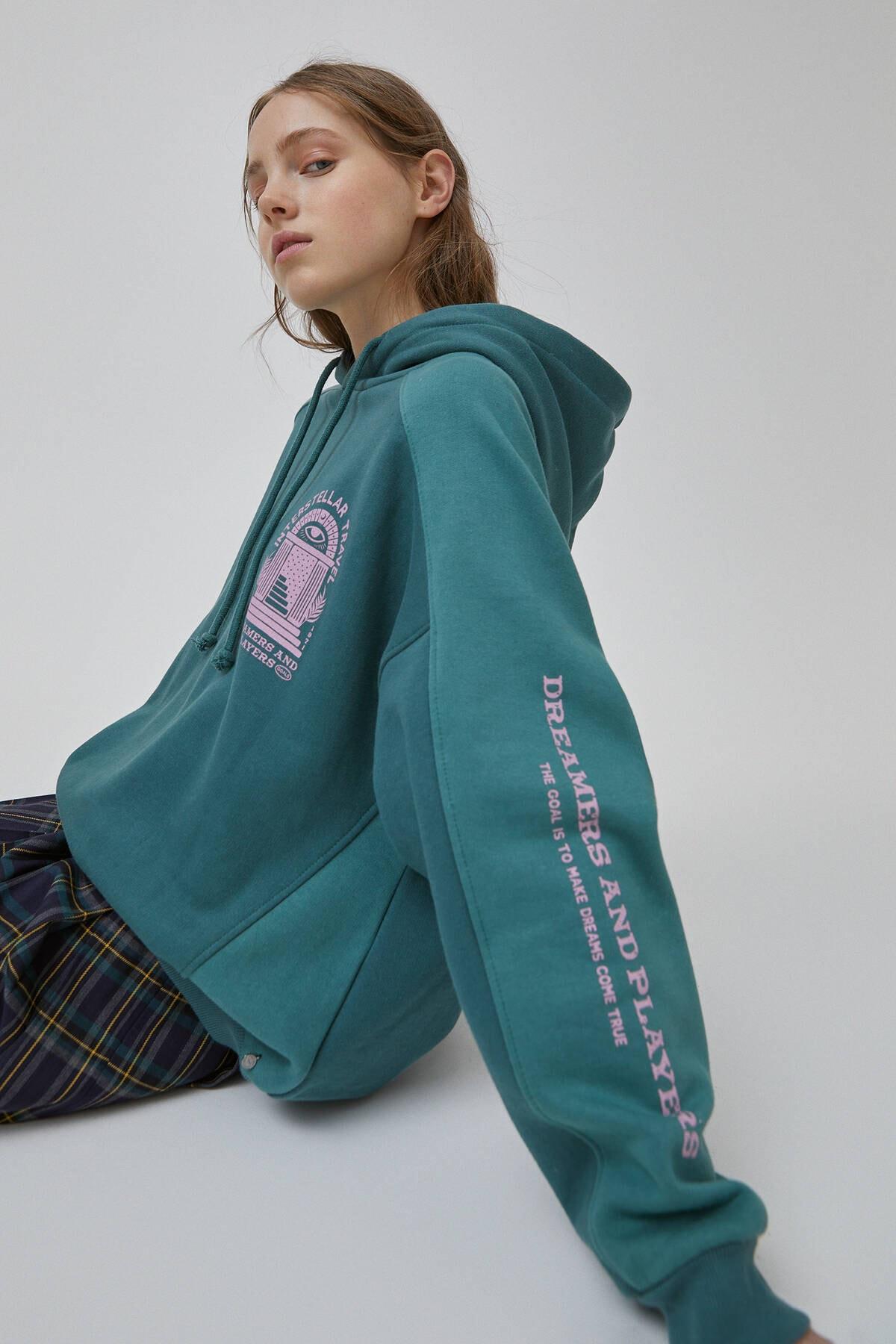 Pull & Bear Kadın Şişe Yeşili Yeşil Blok Renkli Sweatshirt 09594347 1