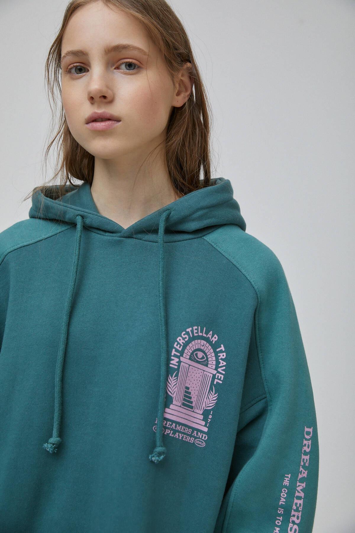 Pull & Bear Kadın Şişe Yeşili Yeşil Blok Renkli Sweatshirt 09594347 4