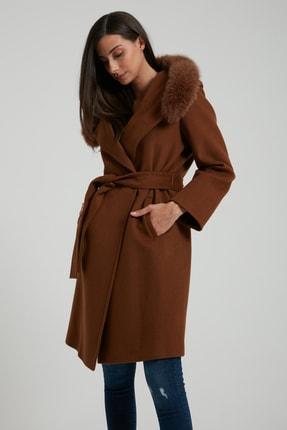 UTOPIAN Kadın Kahverengi Kapüşonlu Punto Dikişli Kürklü Kaban 2