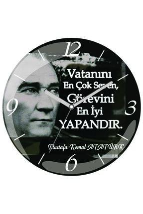 3M Atatürk Bombeli Gerçek Cam Duvar Saati 0