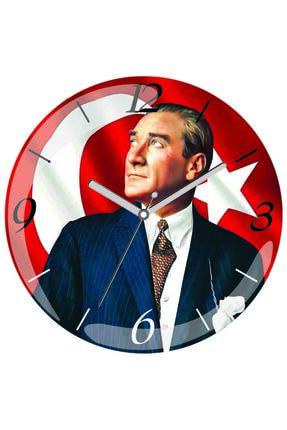 3M Atatürk Bayrak Sessiz Bombeli Gerçek Cam Duvar Saati 0