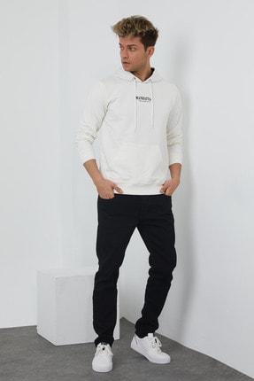MRS CLOTHING Erkek Beyaz Baskılı Kapüşonlu İnce Sweatshirt 2