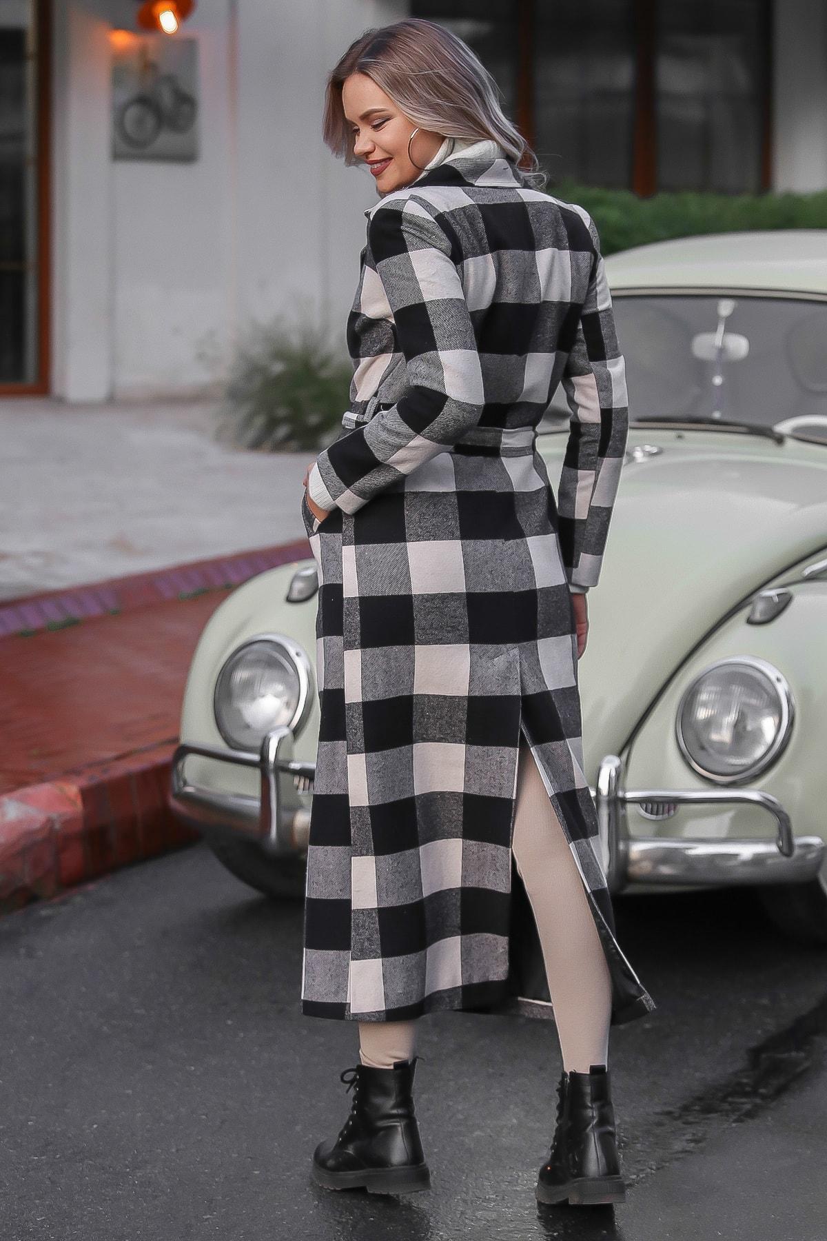 Chiccy Kadın Siyah-Ekru Klasik Ceket Yakalı Ekose Cepli Astarlı Yırtmaçlı Uzun Kaşe Kaban M10210200KA99841 4
