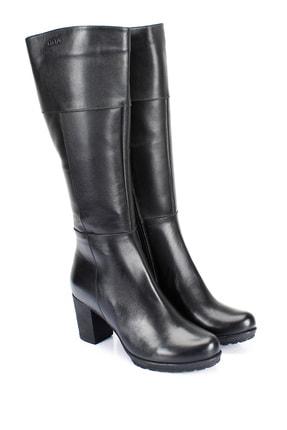 GÖNDERİ(R) Gön Hakiki Deri Siyah Topuklu Fermuarlı Günlük Kadın Çizme 44602 1