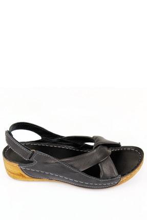 GÖNDERİ(R) Kadın Siyah Hakiki Deri Sandalet 42304 2