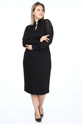 Garip tekstil Büyük Beden Siyah Kadın Elbise Broşlu 3