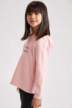 Defacto Kız Çocuk Baskılı Kapüşonlu Sweatshirt 0