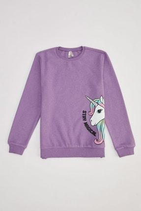 Defacto Kız Çocuk Mor Unicorn Baskılı Sweatshirt 0