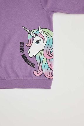 Defacto Kız Çocuk Mor Unicorn Baskılı Sweatshirt 2