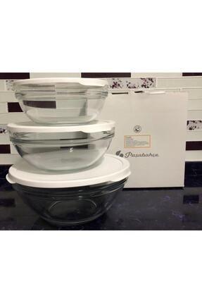 Paşabahçe Cam Chefs 3 Lü Kase Saklama Kabı Beyaz Kapak 0