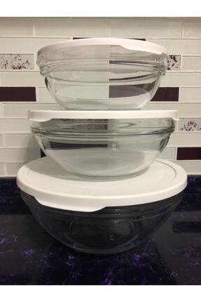Paşabahçe Cam Chefs 3 Lü Kase Saklama Kabı Beyaz Kapak 1