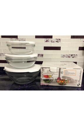 Paşabahçe Cam Chefs 3 Lü Kase Saklama Kabı Beyaz Kapak 3