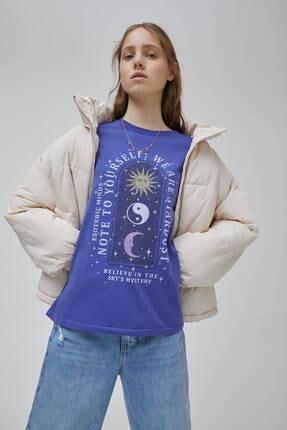 Pull & Bear Kadın Mor Mistik Grafik Görselli  T-shirt 1