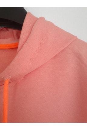 Elvinsa Kız Çocuk Pudra Çantalı Kapüşonlu Mevsimlik Tarz Sweatshirt 3