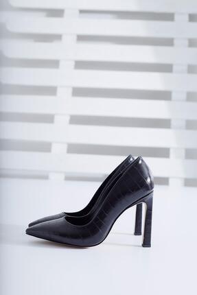 Limoya Kadın Siyah Kroko İnce Topuklu Stiletto 2