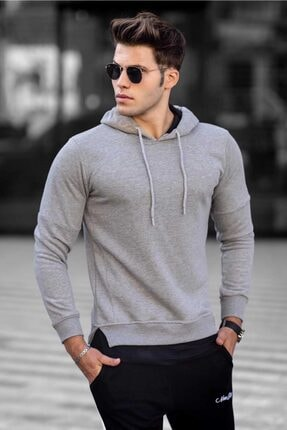 Madmext Erkek Gri   Basic Kapüşonlu Sweatshirt 4696 0