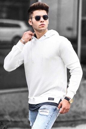Madmext Erkek Beyaz  Basic Kapüşonlu Sweatshirt 4696 0