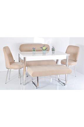 Kaktüs Avm 6 Kişilik Masa Sandalye Takımı Banklı Mutfak Masası Bank Takımı 0