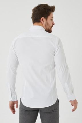 Cosmen Erkek Beyaz Slim Fit Poplin Likralı Gömlek 2