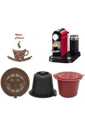Mediatech Nescafe Nespresso Kahve Makinesi Tekrar Doldurulabilir Kapsül Kırmızı Renk 3lü Set 1