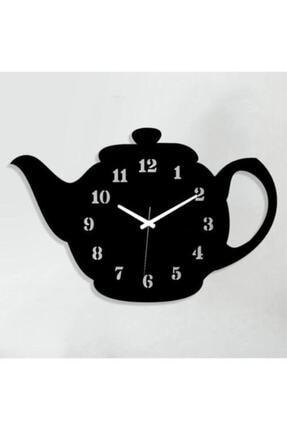 MOD Hediyelik Ahşap Demlik Tasarımlı Dekoratif Mutfak Duvar Saati 0