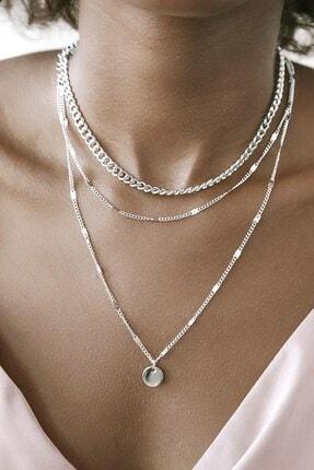 X-Lady Accessories Kadın Katlı Zincir Kolye Pullu Gümüş Renk 0