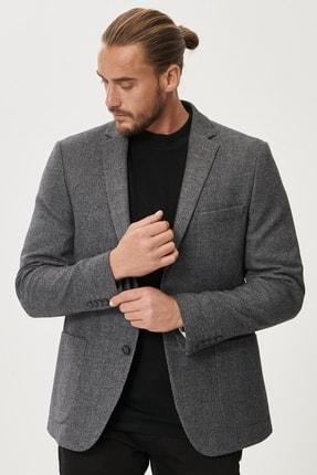 Picture of Erkek Antrasit Slim Fit Dar Kesim Mono Yaka Desenli Yünlü Ceket