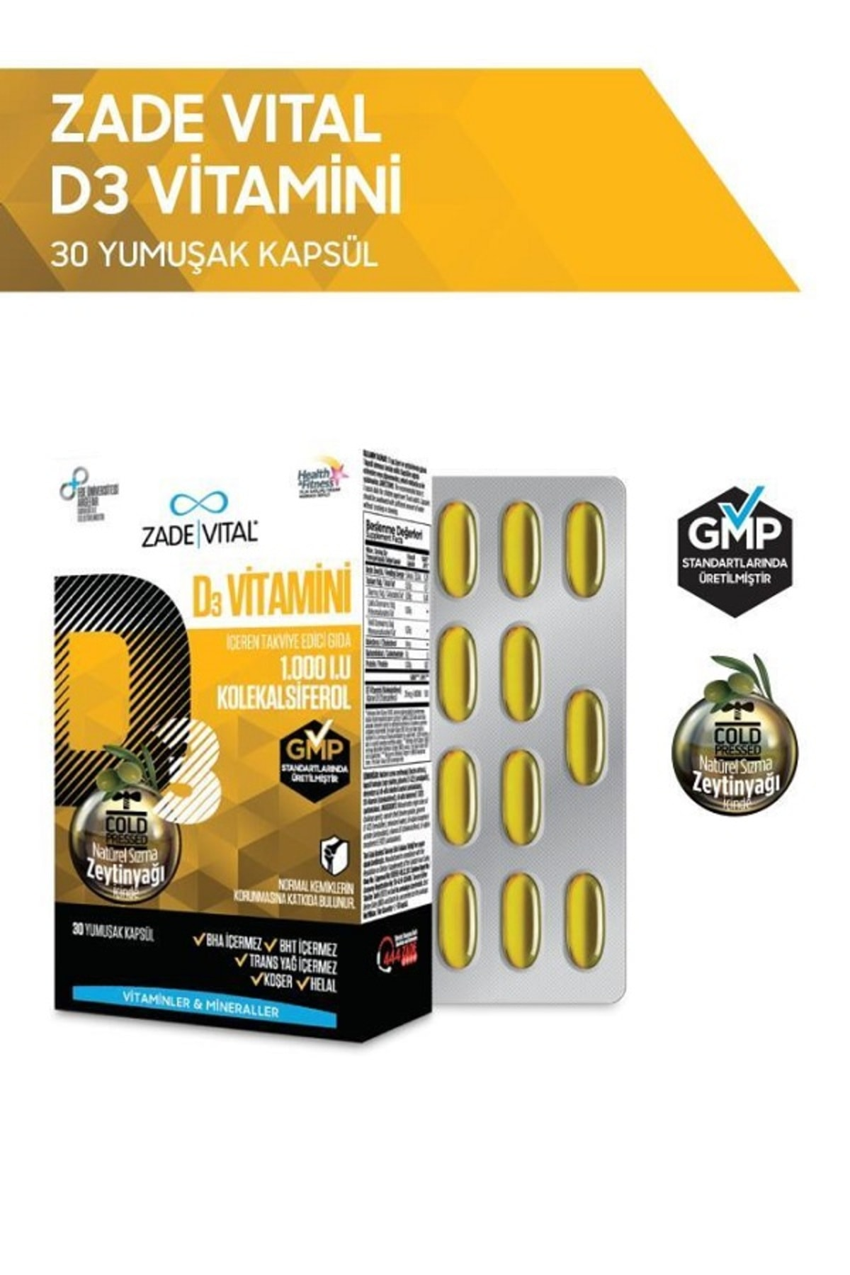 D3 Vitamini 30 Yumuşak Kapsül - 1.000 I.U.