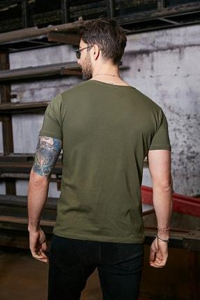 Sateen Men Erkek Haki Kısa Kol V Yaka T-Shirt 2