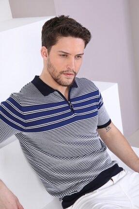 Ferraro Erkek Lacivert  Polo Yaka Fermuarlı Pamuk Triko T-Shirt 2