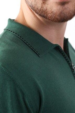 Ferraro Erkek Yeşil Polo Yaka Fermuarlı Pamuk Triko T-shirt 2